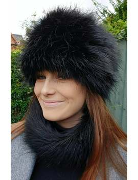 Lovely Long Black Luxury Faux Fur Hat With Polar Fleece Lining by Etsy