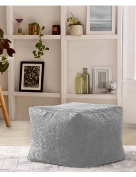 Mainstays Chenille Square Pouf, Gray Flannel by Mainstays
