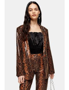 Brown Leather Snake Blazer by Topshop