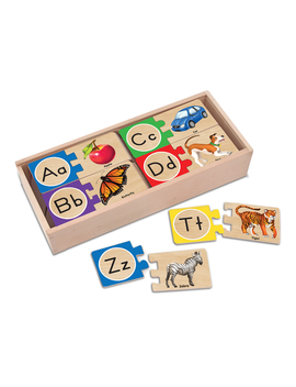 Melissa & Doug Self Correcting Alphabet Letter Puzzles (Developmental Toys, Wooden Storage Box, Detailed Pictures, 52 Pieces, 3″ H × 13.75″ W × 5.75″ L) by Melissa & Doug