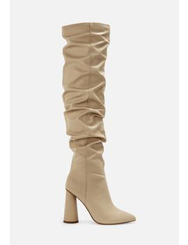 Nude Faux Leather Block Heel Over Knee Boots by Missguided