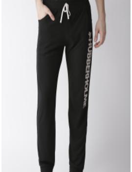 Men Black Solid Slim Fit Joggers by Hubberholme