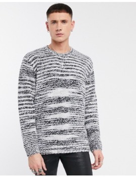 Asos Design Oversized Jumper With Scoop Neck In Black And White Space Dye by Asos Design