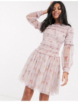 Needle &Amp; Thread Sequin Mini Dress With Sheer Sleeves In Dusty Mauve by Needle & Thread