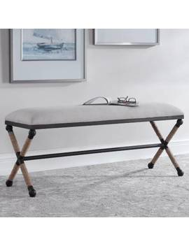 Uttermost Firth Neutral Oatmeal Cotton Bench by Lamps Plus