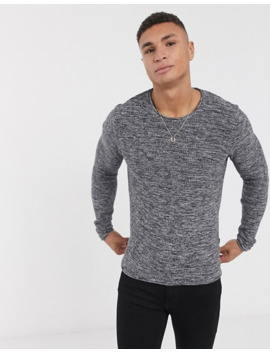 Solid Twisted Yarn Jumper In Grey by Solid