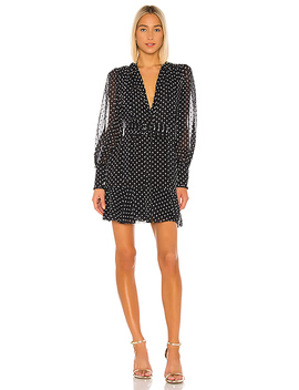 Ivette Dress In Black Embroidered Dot by Alexis
