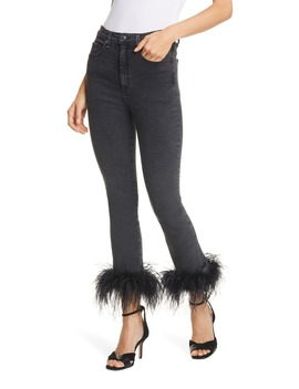 Kareena Feather Hem Skinny Jeans by Veronica Beard