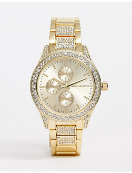Asos Design Bracelet Watch With Crystal Detail Watch In Gold Tone by Asos Design