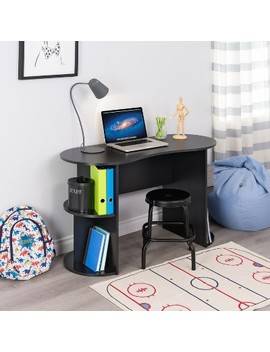 Kurv Compact Student Desk With Storage Black   Prepac by Prepac