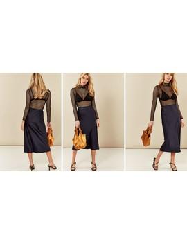 Navy Satin Slip Skirt by India Gray