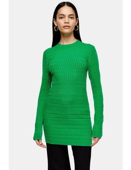 **Green Crew Knit Tunic Top By Topshop Boutique by Topshop