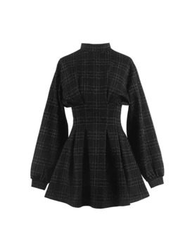2019 Autum Women Vintage Mini Dress Long Sleeve Plaid A Lined Punk Style Gothic Dresses For Goth Girls Female Retro High Waist by Ali Express.Com