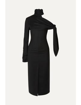 Draped One Shoulder Wool Midi Dress by Materiel
