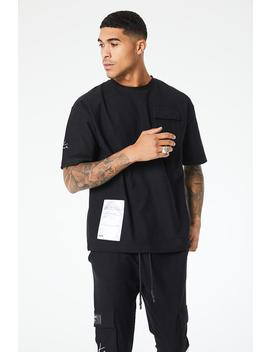 Reverse Loopback Cargo Box Fit T Shirt by Couture Club