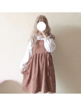 Women's Casual Dresses Vintage Kawaii Ulzzang Lace Up Bow Tie Corduroy Dress Female Cute Kawaii Harajuku Clothing For Women by Ali Express.Com