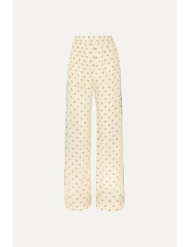Piped Printed Silk Crepe De Chine Pants by Valentino