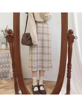 Vintage Plaid Women Skirts Autumn Plus Size Pencil Long Girls Skirt Female Vintage Warm Thick Skirts Winter Femme Faldas Mujer by Ali Express.Com