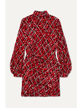 Elle Ruched Printed Velvet Mini Dress by Raquel Diniz