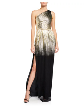 One Shoulder Pleated Foil Degrade Gown W/ High Slit by Marchesa Notte