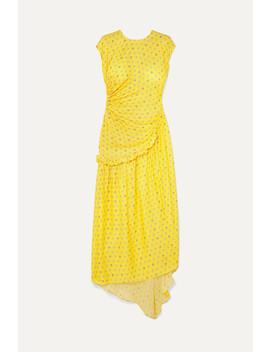 Aubrey Gathered Ruffled Floral Jacquard Maxi Dress by Preen By Thornton Bregazzi