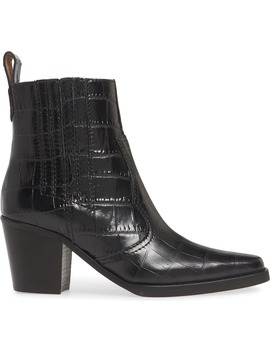 Short Western Embossed Leather Boot by Ganni