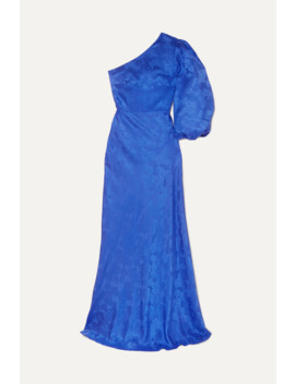 Lily One Shoulder Silk Satin Jacquard Gown by Saloni