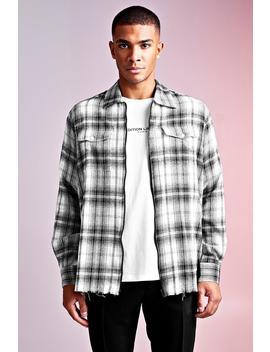 Man Design Oversized Zip Shirt With Raw Hem by Boohoo