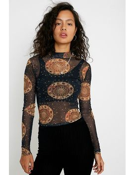 Uo Horoscope Mesh Funnel Neck Top by Urban Outfitters