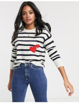 Brave Soul Stripe Jumper With Heart Applique by Asos