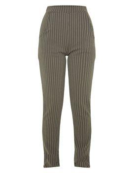 Khaki Pinstripe Skinny Trouser by Prettylittlething