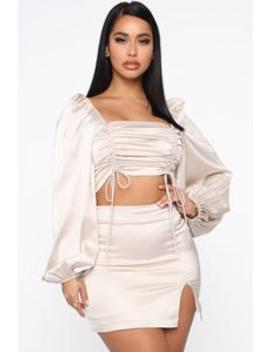 Baby Doll Skirt Set   Cream by Fashion Nova