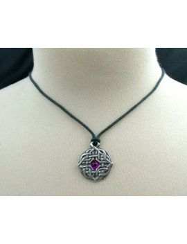 Celtic Knot Necklace Pewter Pendant With Cord Purple Bead Four Seasons Symbol by Nirvana