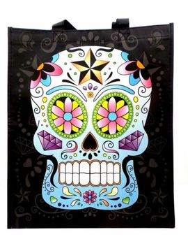 Day Of The Dead Tote Bag Reusable Shopping Bag Sugar Skull Blue And Pink Skull by Pukator