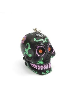 Black Sugar Skull Keychain Day Of The Dead Hand Painted Diamond Purple Flowers by Ebay Seller