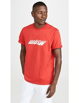 Upside Down Fast Logo Short Sleeve Tee Shirt by Msgm