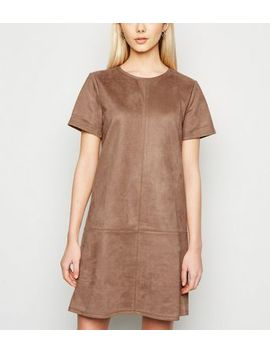 Tan Suedette Mini Tunic Dress by New Look