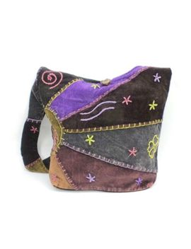 Patchwork Purse Hobo Crossbody Shoulder Bag Multicolor Velvet Hippie Boho Sling by Hippie
