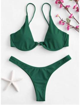 Push Up Plunge Bathing Suit   Medium Sea Green M by Zaful