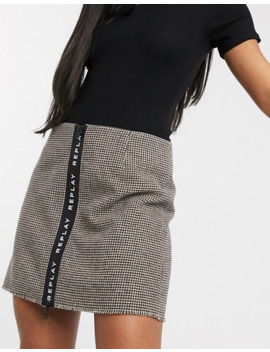 Replay Check Wool Mini Skirt With Logo Print Zipper In The Front by Replay's