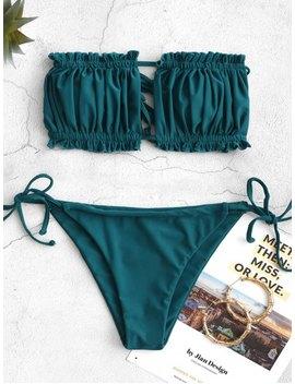 Zaful Ruffle Tie Side Low Waisted Bandeau Bikini Swimsuit   Peacock Blue M by Zaful