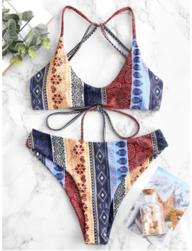 Zaful Floral Paisley Strappy Bikini Set   Multi A M by Zaful