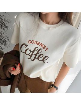 "Dabagirl   ""Coffee"" Letter Short Sleeve T Shirt by Dabagirl"