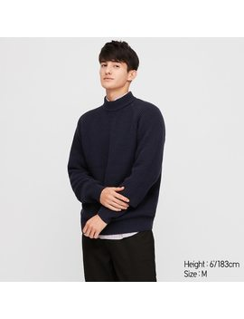 Men Middle Gauge High Neck Long Sleeve Sweater by Uniqlo