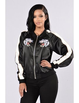 Twin Dragons Jacket   Black by Fashion Nova