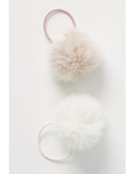 Kids Faux Fur Pom Hair Ties, Set Of 2 by Anthropologie