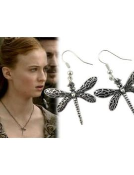 Game Of Thrones Dragonfly Drop Dangle Earrings + Pouch / Box Sansa Stark by Unbranded