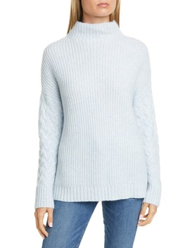 Mix Stitch Funnel Neck Cashmere & Silk Sweater by Nordstrom Signature