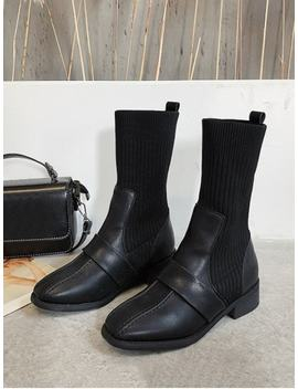 Square Toe Low Heel Sock Mid Calf Boots   Black Eu 37 by Zaful