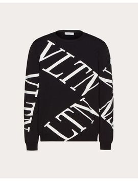 Crew Neck Sweater With Vltn Macrogrid by Valentino